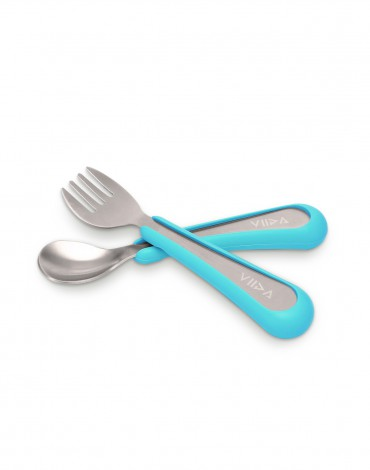 Soufflé Fork & Spoon Set - Baby Blue - Small