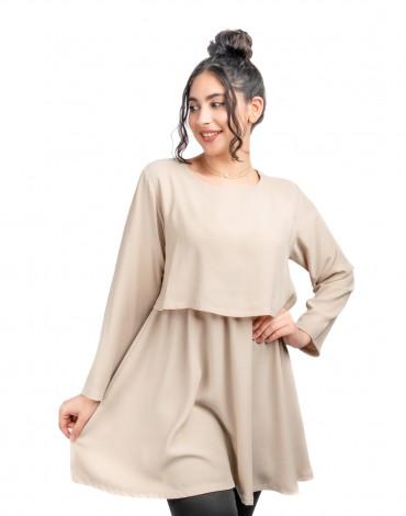 Layers Nursing Dress- Beige